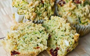 Zucchini, Sun-dried Tomato, and Halloumi Cheese Muffin Recipe