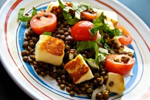 Puy Lentil, Cherry Tomato, and Halloumi Salad
