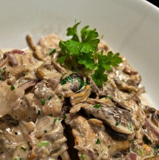 Wild mushroms in cream sauce recipe